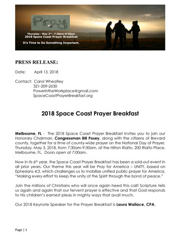 Space Coast Prayer Breakfast Press Release